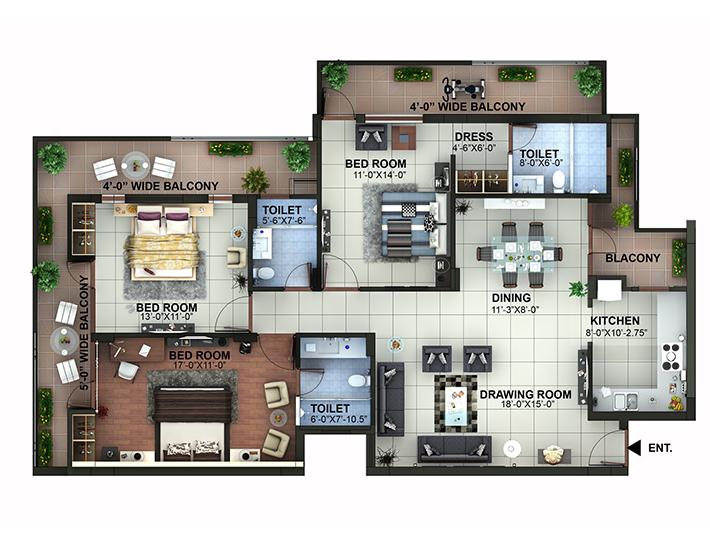 Maxvel Residency Dehradun 3BHK Flat
